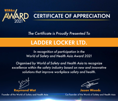WSHAsia Award Certificate - Ladder Locker